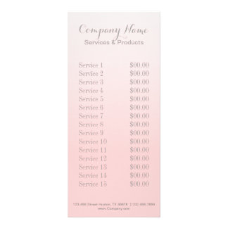 modern chic girly beauty salon fashion blush pink rack card