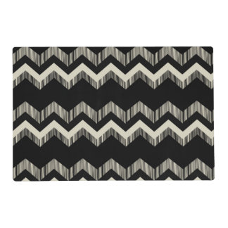 modern chic girly geometric pattern black chevron placemat