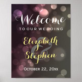 Modern Chic Glitter Bokeh Wedding Sign Poster