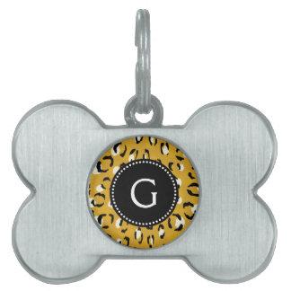 Modern chic gold cheetah print pattern monogram pet ID tags