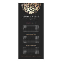 Modern Chic Gold Circled Black Price List Menu