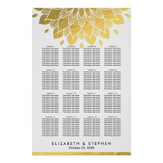 Modern Chic Gold Floral Wedding Seating Chart Poster