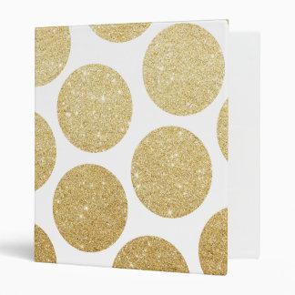 Modern chic gold glitter effect polka dots pattern 3 ring binder