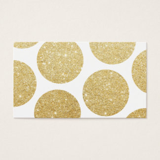Modern chic gold glitter effect polka dots pattern business card