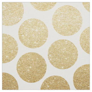 Modern chic gold glitter effect polka dots pattern fabric
