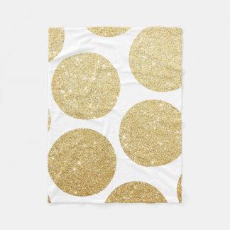 Modern chic gold glitter effect polka dots pattern fleece blanket