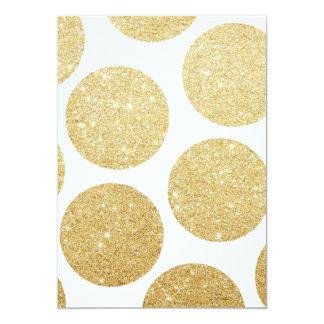 Modern chic gold glitter effect polka dots pattern 5x7 paper invitation card