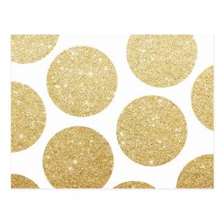 Modern chic gold glitter effect polka dots pattern postcard