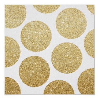 Modern chic gold glitter effect polka dots pattern poster