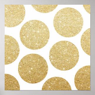 Modern chic gold glitter effect polka dots pattern poster