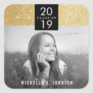 Modern Chic Gold Glitter Photo Graduation Sticker