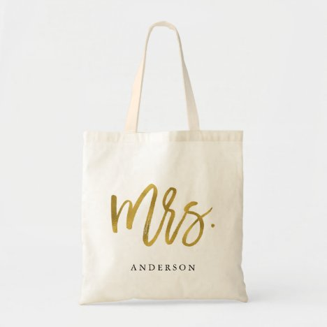 Modern Chic Gold Mrs. calligraphy Tote Bag