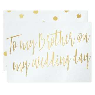 """Modern Chic Gold """"To my brother on my wedding day"""" Card"""