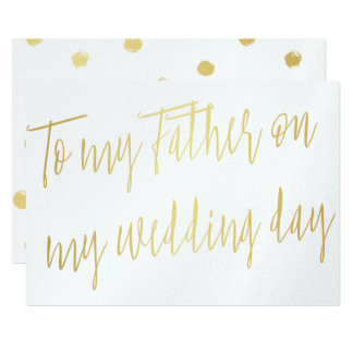 """Modern Chic Gold """"To my father on my wedding day"""" Card"""