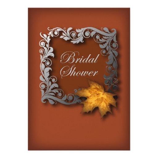 modern chic Golden Leaves vintage Bridal Shower Personalized Invitations