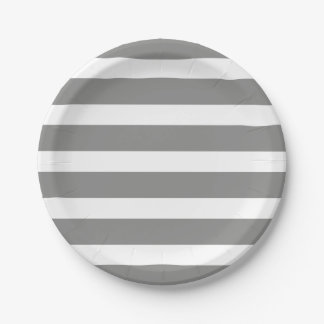 Modern Chic Gray Stripe Birthday Party Paper Plate