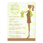 """Modern chic green and brown baby shower invitation 5"""" x 7"""" invitation card"""