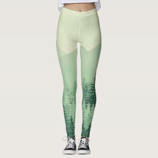 Modern Chic Green Forest Pine Womens Leggings