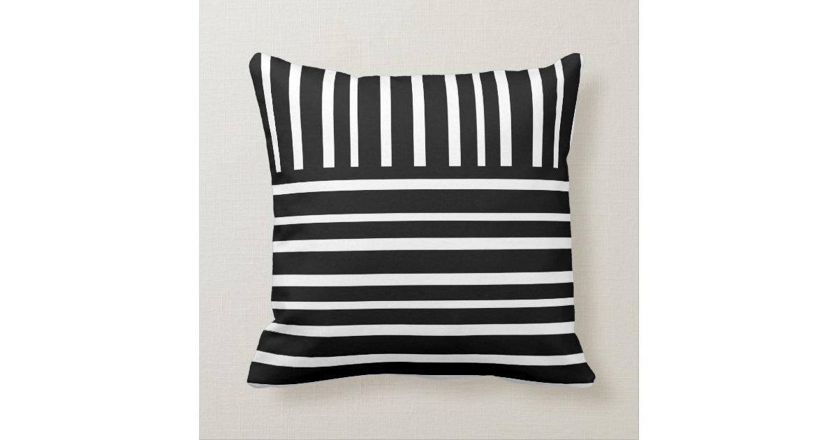 Modern Chic Home Decor Bold Black And White Stripe Pillow