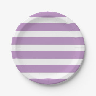 Modern Chic Lilac Purple Stripe Birthday Party Paper Plate
