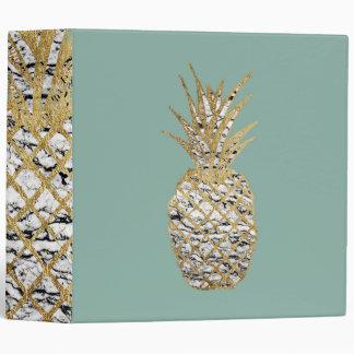 Modern Chic Marble Gold Pineapple Fruit 3 Ring Binder