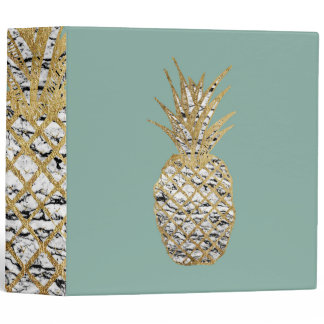 Modern Chic Marble Gold Pineapple Fruit 3 Ring Binder