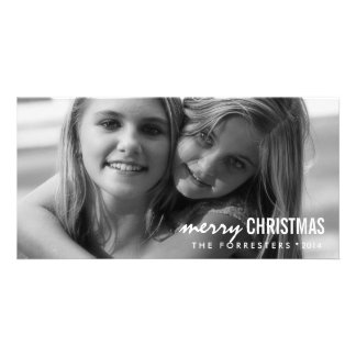 Modern Chic Merry Christmas Photo Card Template