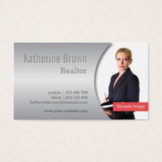 Modern, Chic, Metallic Gradient Effect Photo Business Card