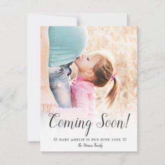 Modern chic minimalist typography photo pregnancy announcement