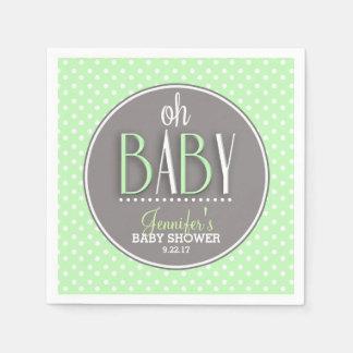Modern Chic Mint Green Baby Shower Napkin