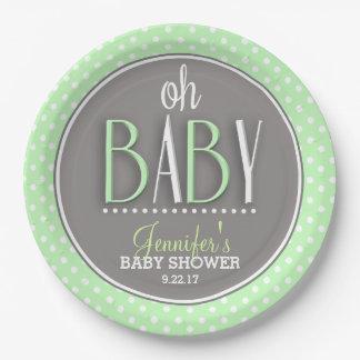 Modern Chic Mint Green Baby Shower Paper Plate