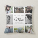 """Modern Chic Mother's Day Mom Family Photo Collage Throw Pillow<br><div class=""""desc"""">We love you,  Mom: For the Best Mom Ever in your life a modern,  trendy instagram family photo collage throw pillow with modern script typography and your personal name and message.</div>"""