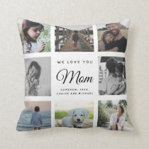 Modern Chic Mother's Day Mom Family Photo Collage Throw Pillow