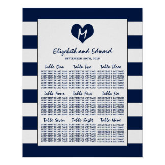 Modern Chic Navy and White Wedding Seating Chart