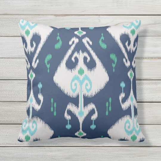 Modern Chic Pillows : Modern chic navy blue and white ikat pillow Zazzle