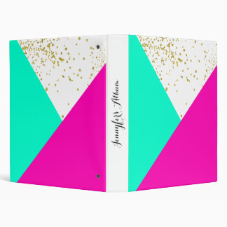 Modern chic neon pink turquoise color block gold binder