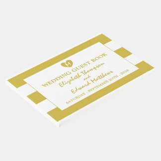 Modern Chic Old Gold Wedding Guest Book