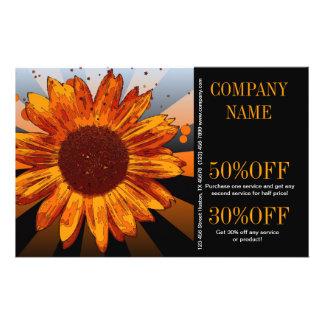 modern chic orange sunflower florist flyer