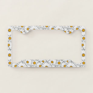 YELLOW DAISY PEACE FLOWER License Plate Frame Stainless Metal Tag Holder