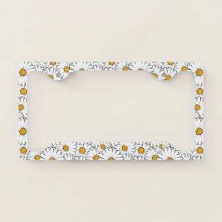 Modern Chic Ornate Daisy Floral Pattern Watercolor License Plate Frame