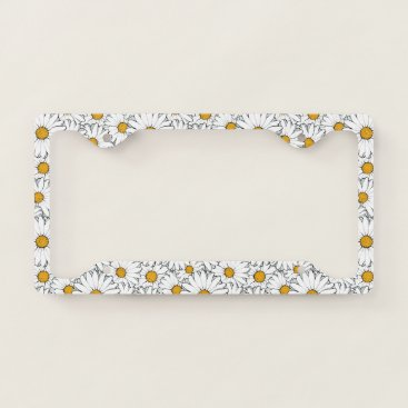All_In_Cute_Fun Modern Chic Ornate Daisy Floral Pattern Watercolor License Plate Frame