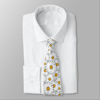 Modern Chic Ornate Daisy Floral Pattern Watercolor Neck Tie