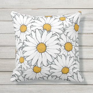 Modern Chic Ornate Daisy Floral Pattern Watercolor Outdoor Pillow