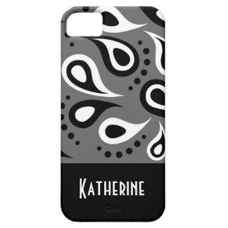 Modern Chic Paisley Pattern Custom Monogram iPhone 5 Cases