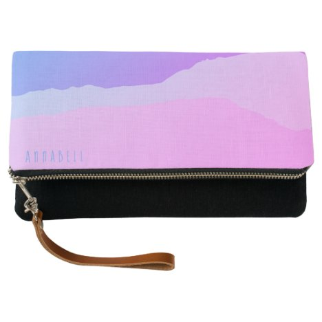 Modern Chic Pale Purple Pink Stripe Personalized Clutch