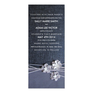 "Modern Chic Paper Flowers Invitation in Black 4"" X 9.25"" Invitation Card"