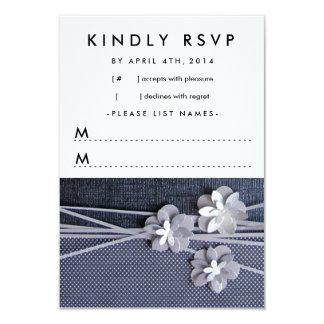 """Modern Chic Paper Flowers Response Card in Black 3.5"""" X 5"""" Invitation Card"""