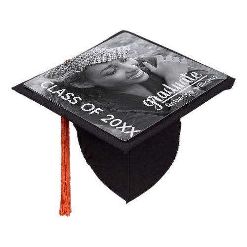 Modern Chic Photo Graduation Graduation Cap Topper