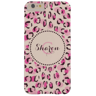 Modern chic pink cheetah print pattern monogram barely there iPhone 6 plus case