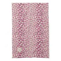Modern chic pink cheetah print pattern monogram hand towel